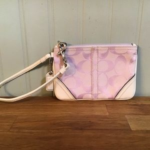 Coach Signature Canvas/Leather Wristlet